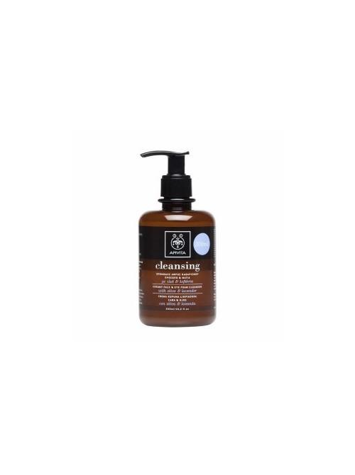 Apivita - Κρεμώδης Αφρός Καθαρισμού για Πρόσωπο & Μάτια με ελιά & λεβάντα, 300ml