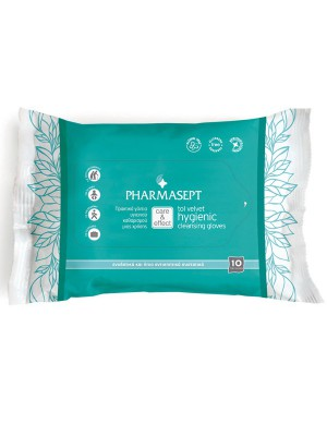 Pharmasept - Tol velvet, Πρακτικά υγρά γάντια μίας χρήσης για καθαρισμό & υγιεινή σώματος χωρίς νερό ή σαπούνι, 10τμχ