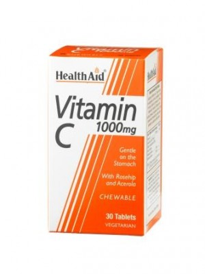 Health Aid - Vitamin C Chewable 1000mg, 30 tabs