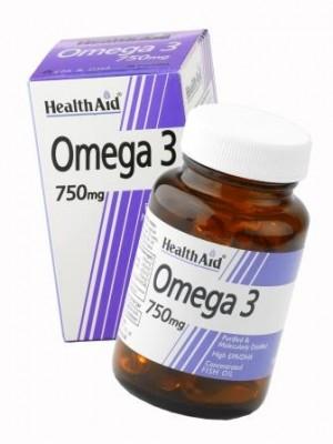 Health Aid - ΩΜΕΓΑ 3, 750 mg - Λιπαρά οξέα, 30 ταμπλέτες
