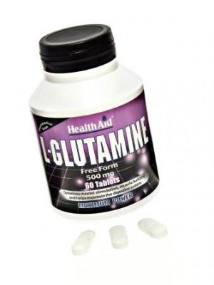 Health Aid - L- GLUTAMINE 500mg Free form, 60 tabs