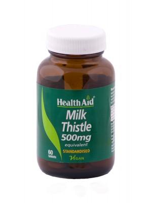 Health Aid - MILK THISTLE 500mg, ΓΑΪΔΟΥΡΑΓΚΑΘΟ αποτοξινωτικό ήπατος, 30 ταμπλέτες
