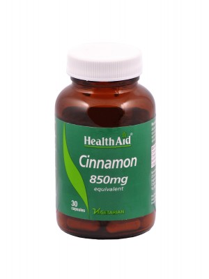 Health Aid - CINNAMON 850mg, Κανέλα για τον διαβήτη, 30 ταμπλέτες