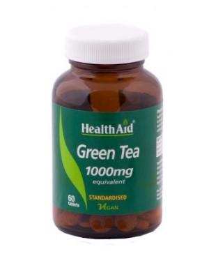 Health Aid - GREEN TEA 1000mg, ΠΡΑΣΙΝΟ ΤΣΑΙ Κατεχίνες (χωρίς καφεΐνη), 60 tabs