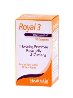 Health Aid - ROYAL 3 Βασιλικός πολτός - Έλαιο νυχτολούλουδου & Τζίνσενγκ TANG ROYAL JELLY Βασιλικός Πολτός 600mg, 30 κάψουλες