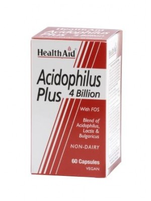 Health Aid - ACIDOPHILUS PLUS, Oξεόφιλα προβιοτικά με φρουκτο - ολιγοσακχαρίτες, 60 κάψουλες