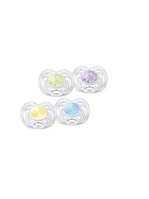 Philips AVENT - 2x Silicone Pacifiers freeflow 0+ Modern Colours, SCF180/23