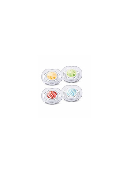 Philips AVENT - 2 Πιπίλες σιλικόνης freeflow 6+ Μοντέρνα Χρώματα, SCF180/24