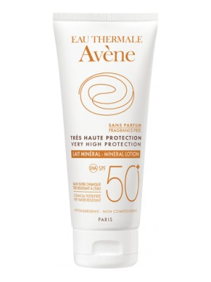 Avene - HIGH PROTECTION MINERAL LOTION  SPF 50+,  100ml, Very high protection for intolerant or damaged skin.