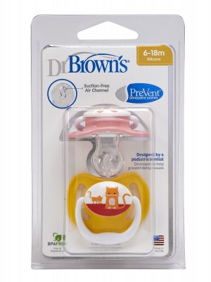 Dr Brown's - PreVent Pacifiers, 6-18m, 2pcs, PV240-GB