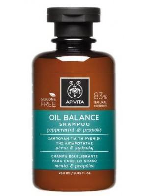 Apivita - HOLISTIC HAIR CARE, Oil Balance Shampoo with Peppermint & Propolis, 250ml
