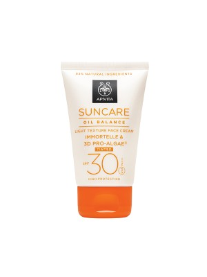 Apivita - SUNCARE Oil Balance Light Texture Tinted Face Cream SPF 30 - High Protection with Immortelle & 3D PRO-ALGAE, 50ml