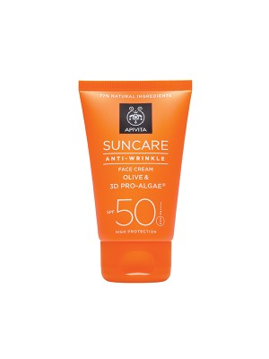 Apivita - SUNCARE Anti-Wrinkle Face Cream SPF 50 - Very High Protection with Olive & 3D PRO-ALGAE, 50ml