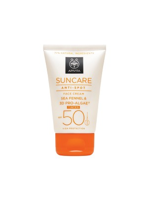 Apivita - SUNCARE Anti-Spot Tinted Face Cream SPF 50 - Very High Protection with Sea Fennel & 3D PRO-ALGAE, 50ml