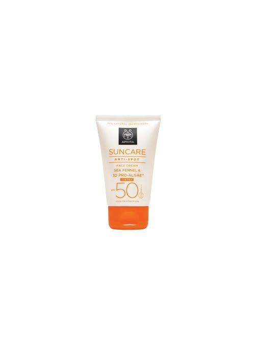 Apivita - SUNCARE Anti-Spot Tinted Face Cream SPF 50 - Very High Protection with Sea Fennel & 3D PRO-ALGAE, 50ml