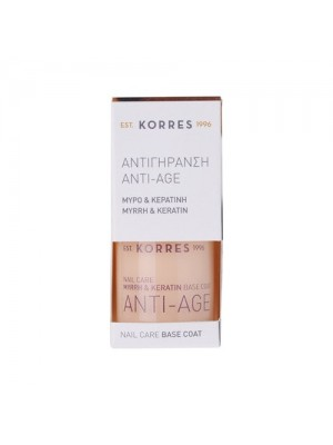 korres - base coat anti - age, myrrh & keratin, 10ml
