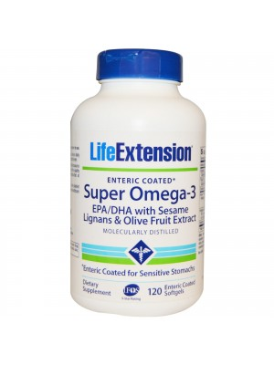 life extension - dietary supplement OMEGA-3 EPA/DHA, With Sesame Lignans & Olive Fruit Extract, 120 soft cap.