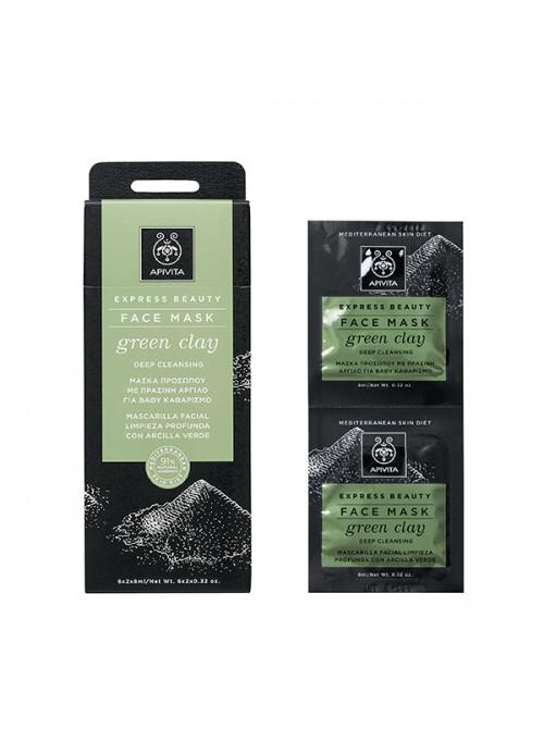Apivita - Express Beauty, Μάσκα για Bαθύ Kαθαρισμό με πράσινη άργιλο, 2x8ml