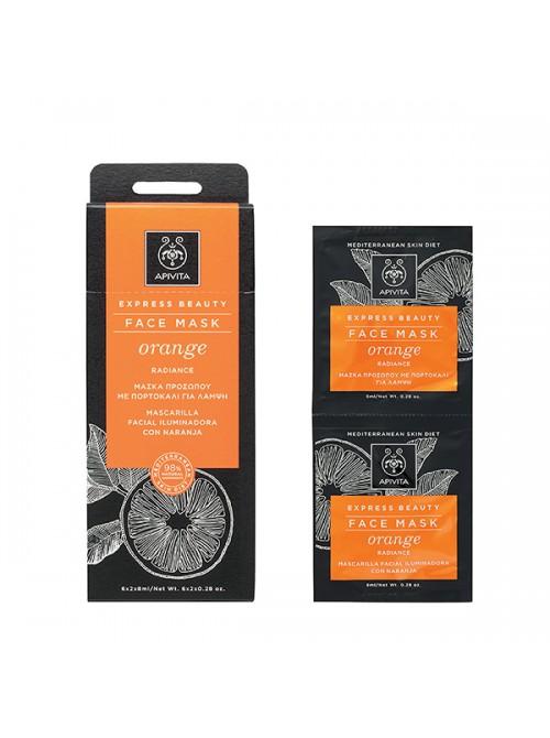 Apivita - Express Beauty, Μάσκα Αναζωογόνησης με πορτοκάλι, 2x8ml