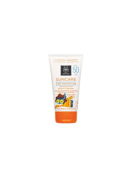 Apivita - SUNCARE Kids Protection Face & Body Milk SPF 50 - High Protection with Apricot & Calendula (Marigold), 150ml
