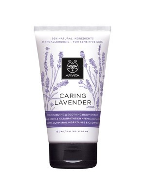 Apivita - CARING LAVENDER Moisturizing & Soothing Body Cream / Hypoallergenic with Lavender, 150ml