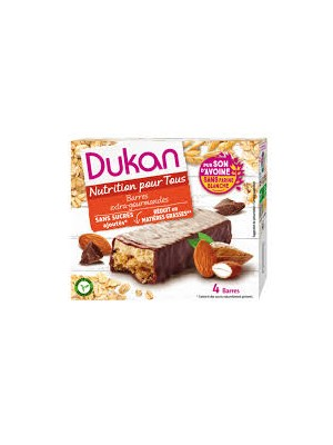 DUKAN - Gourmet Chocolate Coated Oat Bran Bars with Nougat Layer, 120g