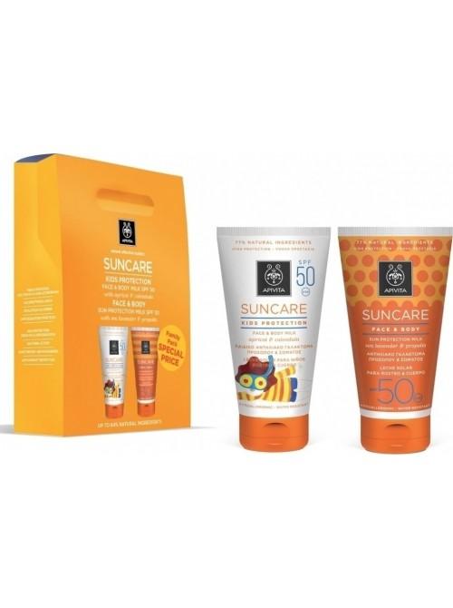 Apivita -  Suncare Kids Protection Face & Body Milk SPF50 150ml & Face & Body Sun Protection Milk, 150ml