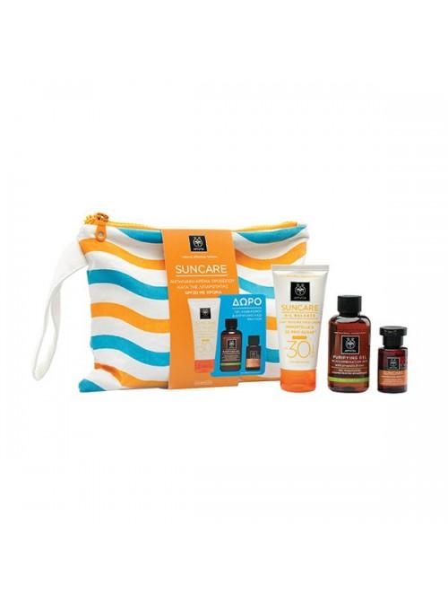 Apivita - Suncare Oil Balance SPF30 Ελαφριά Υφή με Χρώμα, 50ml & Δώρο Gel Καθαρισμού, 75ml & Αντηλιακό Λάδι Μαλλιών, 20ml