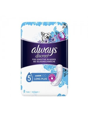 Always - Discreet Long Plus Incontinence Sanitary Napkins, 8 Items