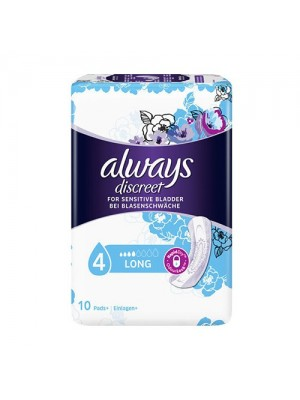Always - Discreet Long Incontinence Sanitary Napkins, 10 Items