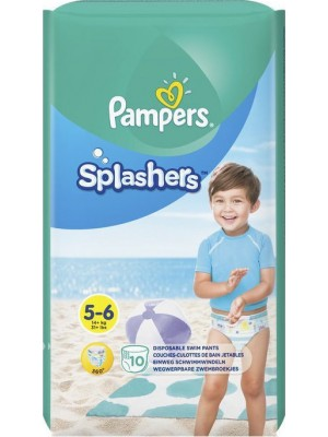 Pampers - Splashers Size No 5-6 (14kg+) -Swimsuits, 10 Waterproof Baby Diapers