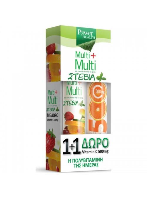 Power Health - Multi + Multi with Stevia (24 Efferv.Tabs) + Vitamin C 500mg Orange Flavor, (20 Efferv.Tabs)